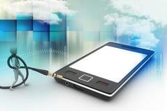 Icône élégante d'homme à un téléphone intelligent Images libres de droits