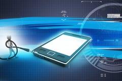Icône élégante d'homme à un téléphone intelligent Image libre de droits