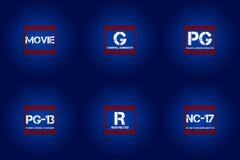 Icône évaluée de film et critiques cinématographiques de marquage Image stock