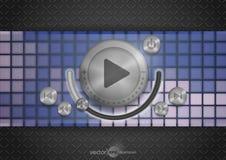 Icône abstraite de la technologie APP avec le bouton de musique Photographie stock