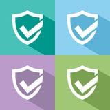 Icône active de bouclier de protection avec l'ombre Photos stock