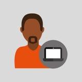icône africaine d'ordinateur portable d'homme Image stock