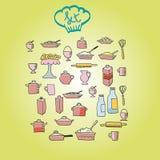 Icône alimentaire de cuisine Photos stock