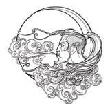 Icône antique de vent de Boreas de cartographie de style Repos principal masculin sur un nuage fleuri bouclé et un vent de souffl illustration libre de droits