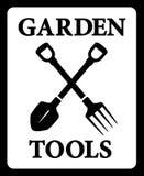 Icône avec la silhouette d'outils de jardin Photo stock