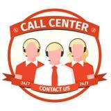 Icône avec les silhouettes masculines et femelles des opérateurs de centre d'appels illustration libre de droits