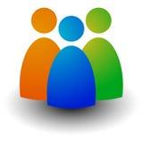 Icône avec trois figures - hommes d'affaires, caractères, emploi, H Images libres de droits