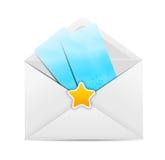 Icône blanche d'enveloppe avec l'illustration de vecteur d'étoile Photos libres de droits