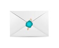 Icône blanche d'enveloppe avec le vecteur de joint de cire Photographie stock libre de droits