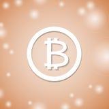 Icône blanche de Bitcoin sur le fond orange Crypto argent de devise Photographie stock