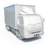 icône blanche de camion de livraison 3d Images stock