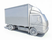 icône blanche de camion de livraison 3d Photographie stock