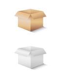 Icône blanche et brune de boîte de papier Images libres de droits