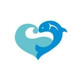 Icône bleue avec des poissons Images libres de droits