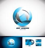 Icône bleue 3d de logo de cercle de sphère illustration stock