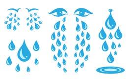 Ic?ne bleue de larmes de bande dessin?e de cri ou baisses su?es des yeux illustration stock