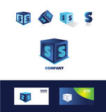 Icône bleue de logo de cube en lettre S Photo stock