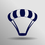 Icône bleue de parachute sur le fond gris photographie stock libre de droits