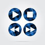 Icône bleue et noire de tartan - le contrôle de musique se boutonne Photos libres de droits