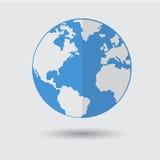 Icône bleue plate de planète de la terre sur Gray Background Photo stock