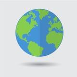 Icône bleue plate de planète de la terre verte sur Gray Background Photographie stock