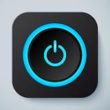 Icône carrée arrondie par noir avec le bouton de puissance illustration libre de droits
