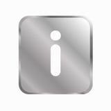 Icône carrée métallique de l'information Photographie stock