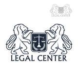 Icône centrale juridique de vecteur des lions héraldiques, laurier Images stock