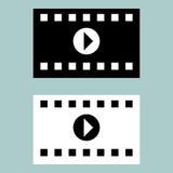 Icône cinématographique noire et blanche de ruban Photos libres de droits