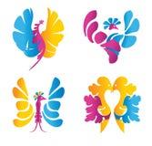 Icône colorée abstraite d'oiseaux Image libre de droits