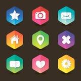 Icône colorée d'hexagone de Web réglée avec des ombres Photo stock