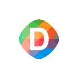 Icône colorée de l'initiale D Images libres de droits