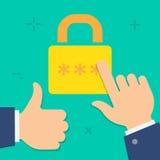 Icône colorée de style minimal plat de sécurité d'Internet de vecteur Images libres de droits