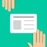 Icône colorée de style minimal plat de vecteur de carte avec des mains Photo stock