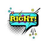 Icône comique d'Art Style Right Expression Text de bruit de bulle de causerie de la parole Images libres de droits