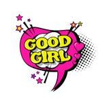 Icône comique des textes d'Art Style Good Girl Expression de bruit de bulle de causerie de la parole Image libre de droits