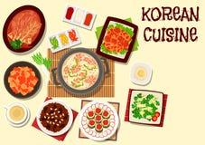 Icône coréenne de cuisine pour la conception de menu de restaurant Image stock