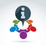 Icône corporative protectrice de l'information, équipe d'affaires avec des infos Image stock