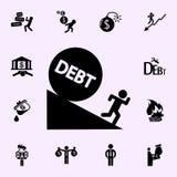 ic?ne courante de chute de boule de dette d'homme Ensemble universel d'ic?nes de b?n?fice pour le Web et le mobile illustration libre de droits