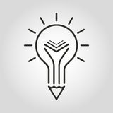 Icône créative d'éducation Symbole de crayon et de livre d'ampoule illustration stock