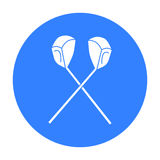 Icône croisée de clubs de golf dans le style noir d'isolement sur le fond blanc Illustration de vecteur d'actions de symbole de c illustration libre de droits