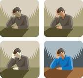 Icône déprimée/soumise à une contrainte d'homme illustration stock