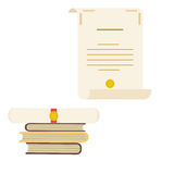 Icône déroulée et roulée de papier de diplôme avec le timbre et les livres Photo libre de droits