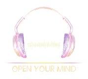 Icône d'écouteurs avec des battements abstraits d'onde sonore Conçu dans le style artistique d'ensemble Illustration de vecteur Photos stock