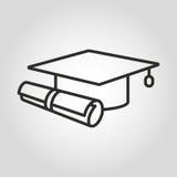 Icône d'éducation Symbole de chapeau et de diplôme d'obtention du diplôme illustration libre de droits