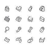 Icône d'élément d'ordinateur réglée sur le fond blanc illustration stock