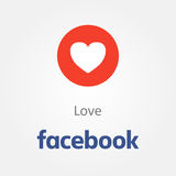 Icône d'émotion de Facebook Vecteur d'emoji de coeur d'amour illustration stock