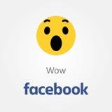 Icône d'émotion de Facebook Vecteur d'emoji de wow illustration libre de droits