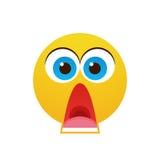 Icône d'émotion de personnes choquée par visage jaune de bande dessinée illustration stock