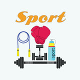 Icône d'équipement de sport de couleur de vecteur Sig sains de concept de mode de vie Photos stock
